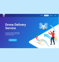drone delivery lp template vector image