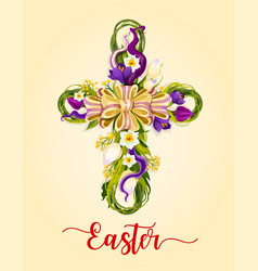 Easter cross made up flowers greeting card vector