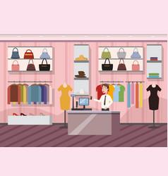 fashion shop super market female clothes shopping vector image
