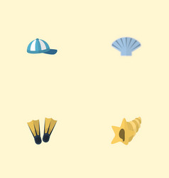 flat icons conch shell hat and other vector image