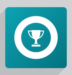 Flat winner cup icon vector