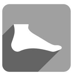 Foot Flat Square Icon with Long Shadow vector image