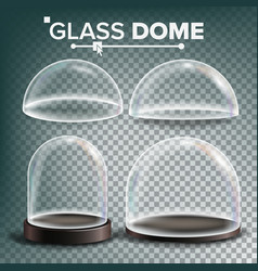 Glass dome set advertising presentation vector