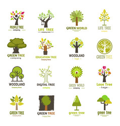 Green tree silhouette logo badge company nature vector