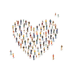 Group people in shape a heart vector