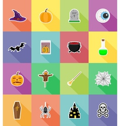 halloween flat icons 18 vector image