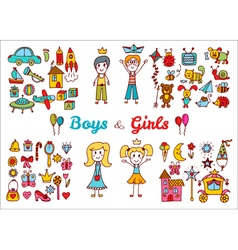 Hand drawn baby boy and girl toys set Doodle vector image