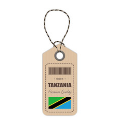 hang tag made in tanzania with flag icon isolated vector image