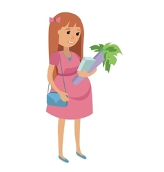 Happy Pregnant Woman with food Flat vector image