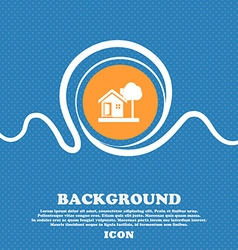 House icon sign Blue and white abstract background vector
