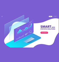 isometric concept smart data statistics vector image