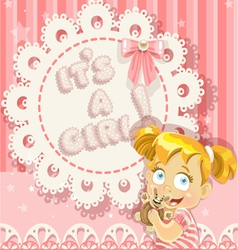 Its a girl pink openwork card vector image