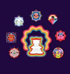 Kawaii style yantra symbols and elements vector