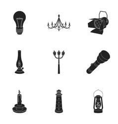 Light source set icons in black style big vector