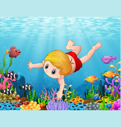 Little boy swimming under the sea vector