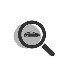 Magnifying glass looking for a car isolated web vector