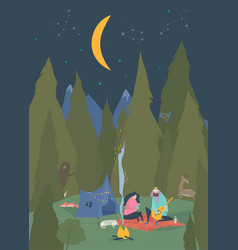 man and woman sitting in camp near bonfire vector image