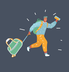 man running to travel vector image