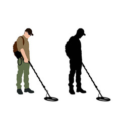 man using metal detector with backpack vector image