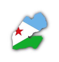 Map and flag of djibouti vector