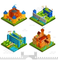 Medieval Castles Isometric Collection vector