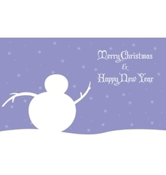Merry Christmas snowman winter landscape vector