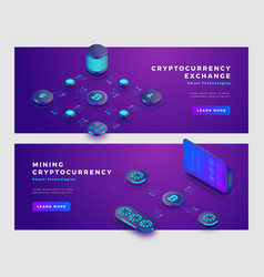 Mining bitcoin and cryptocurrency exchange concept vector