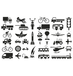 modes of transportation icons on white vector image