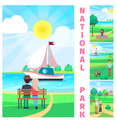 national park with couple admiring yacht vector image