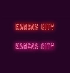 Neon name of kansas city in usa text vector