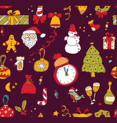 new year christmas dark seamless pattern vector image