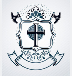 Old style heraldry heraldic emblem vector