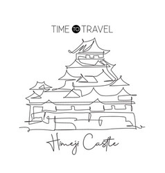 one single line drawing himeji castle landmark vector image