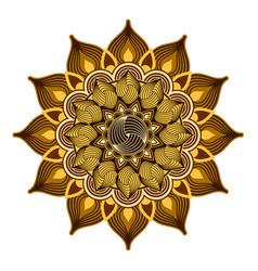 ornamental mandalagolden and brown color design vector image