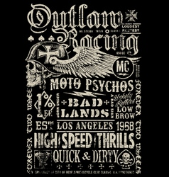 Outlaw Racing vintage poster t-shirt graphic vector image