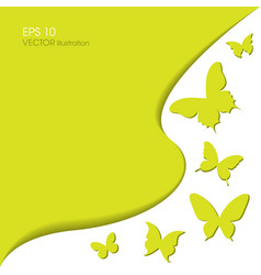 Paper butterflies on a green background vector image