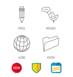 Pencil message and world globe icons vector