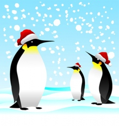 Penguin with noel cap vector
