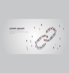 People crowd gathering in link icon shape social vector
