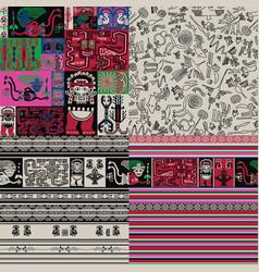 Peruvian motifs 4 seamless background vector