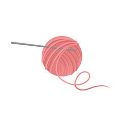 Pink ball of wool yarn with metal crochet hook vector