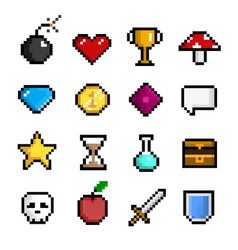pixel game icon set computer and web interface vector image