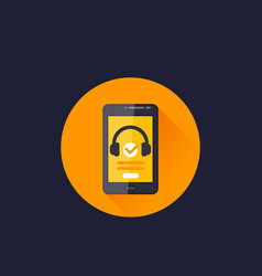 podcast in smart phone icon vector image