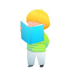 Reading a book baby boy or preschooler excited vector