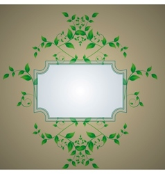 retro background with a frame with green leaves vector image