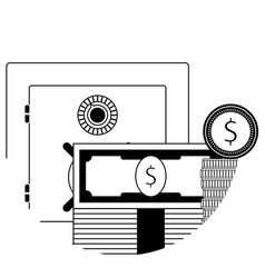safe money deposit box line icon vector image