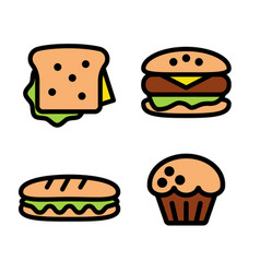 Sandwich hamburger baguette and muffin vector