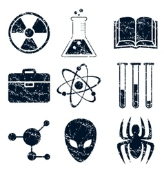 Science icons set grunge vector