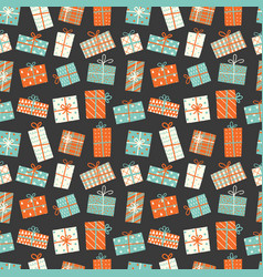 Seamless background with christmas gift boxes can vector