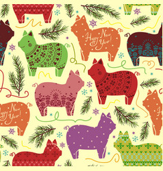 Seamless new year pattern with stylized pigs vector